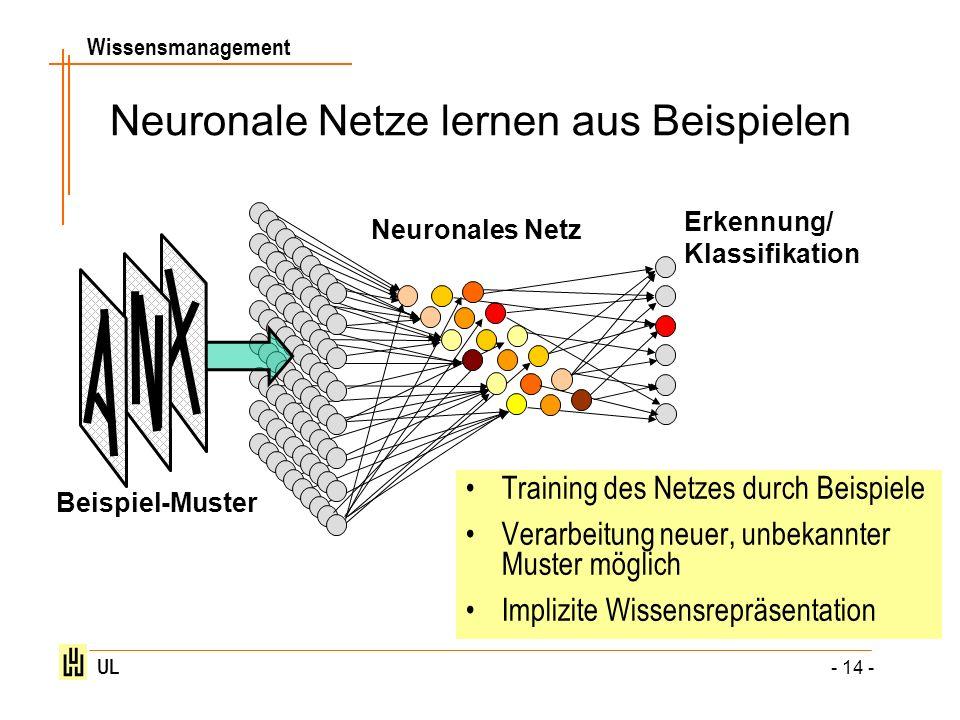 Wissensmanagement UL - 14 - Neuronale Netze lernen aus Beispielen Beispiel-Muster Neuronales Netz Erkennung/ Klassifikation Training des Netzes durch