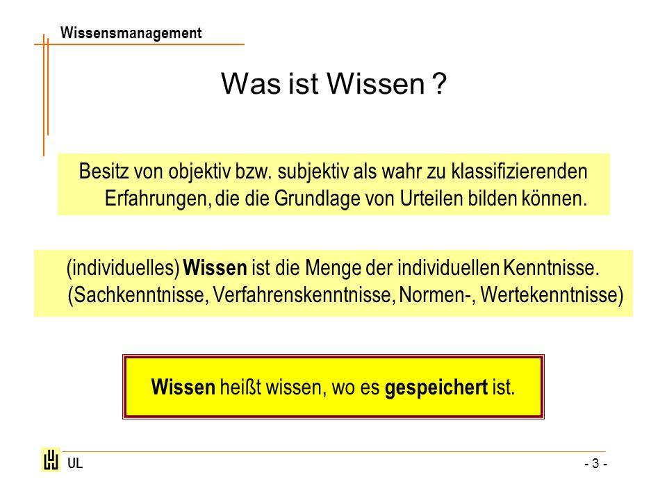 Wissensmanagement UL - 24 - Fragen/Aufgaben Was ist Wissen.
