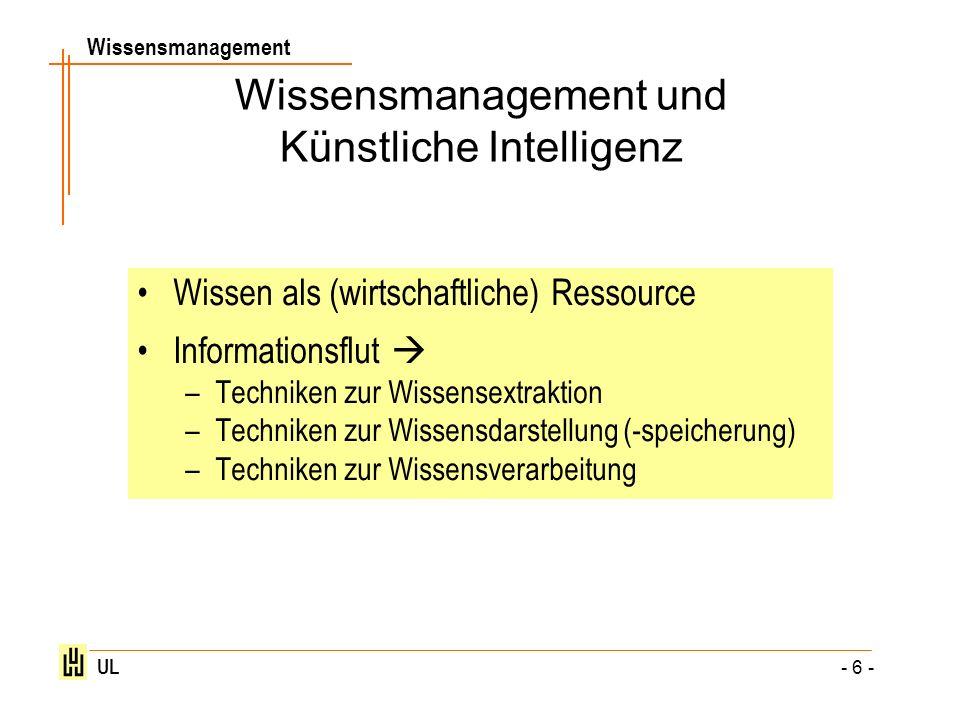 Wissensmanagement UL - 6 - Wissensmanagement und Künstliche Intelligenz Wissen als (wirtschaftliche) Ressource Informationsflut –Techniken zur Wissens