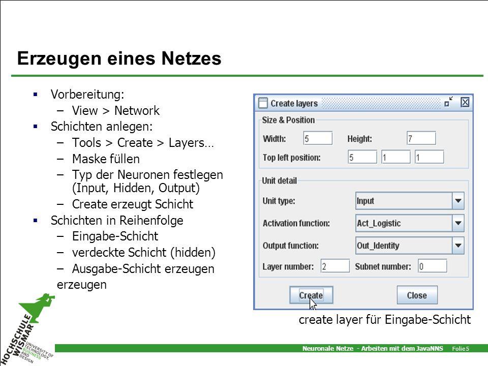 Neuronale Netze - Arbeiten mit dem JavaNNS Folie 5 Erzeugen eines Netzes Vorbereitung: –View > Network Schichten anlegen: –Tools > Create > Layers… –M