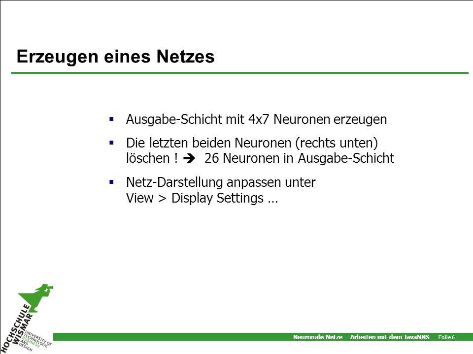 Neuronale Netze - Arbeiten mit dem JavaNNS Folie 17 Ende