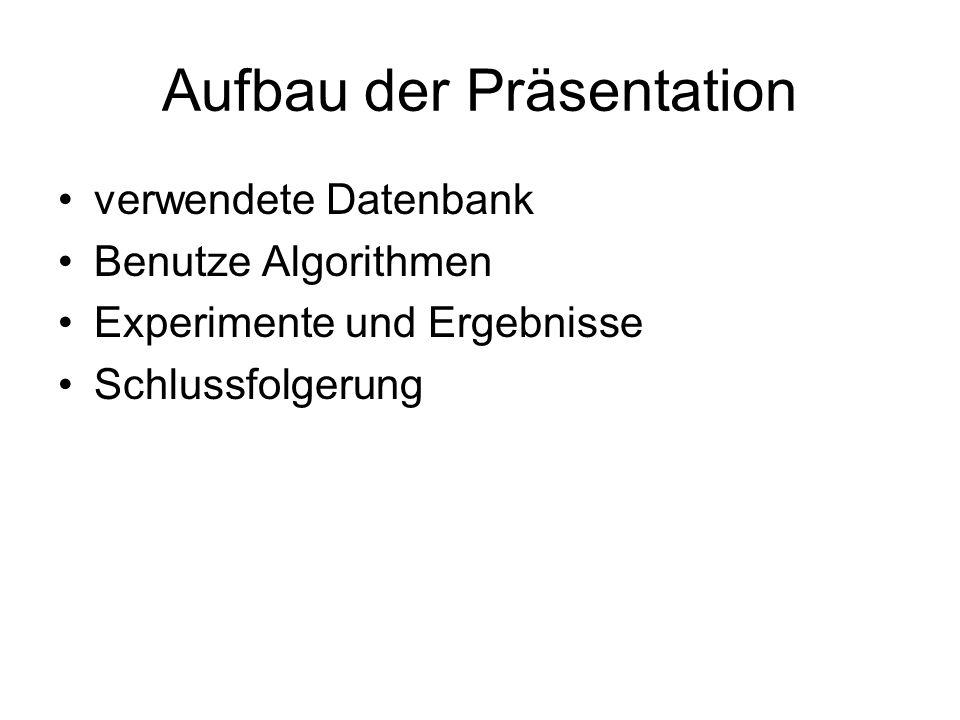 Aufbau der Präsentation verwendete Datenbank Benutze Algorithmen Experimente und Ergebnisse Schlussfolgerung