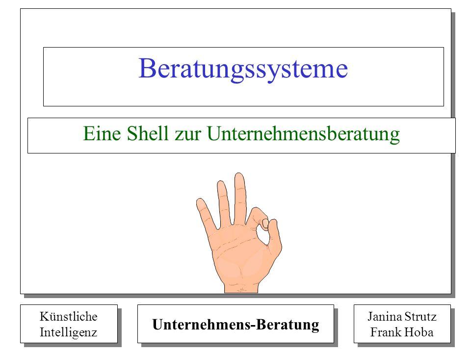 Künstliche Intelligenz Künstliche Intelligenz Unternehmens-Beratung Janina Strutz Frank Hoba Janina Strutz Frank Hoba Beratungssysteme Eine Shell zur