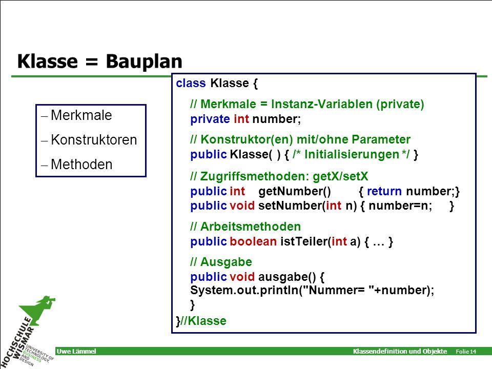 Klassendefinition und Objekte Folie 14 Uwe Lämmel Klasse = Bauplan class Klasse { // Merkmale = Instanz-Variablen (private) private int number; // Konstruktor(en) mit/ohne Parameter public Klasse( ) { /* Initialisierungen */ } // Zugriffsmethoden: getX/setX public int getNumber() { return number;} public void setNumber(int n) { number=n; } // Arbeitsmethoden public boolean istTeiler(int a) { … } // Ausgabe public void ausgabe() { System.out.println( Nummer= +number); } }//Klasse – Merkmale – Konstruktoren – Methoden