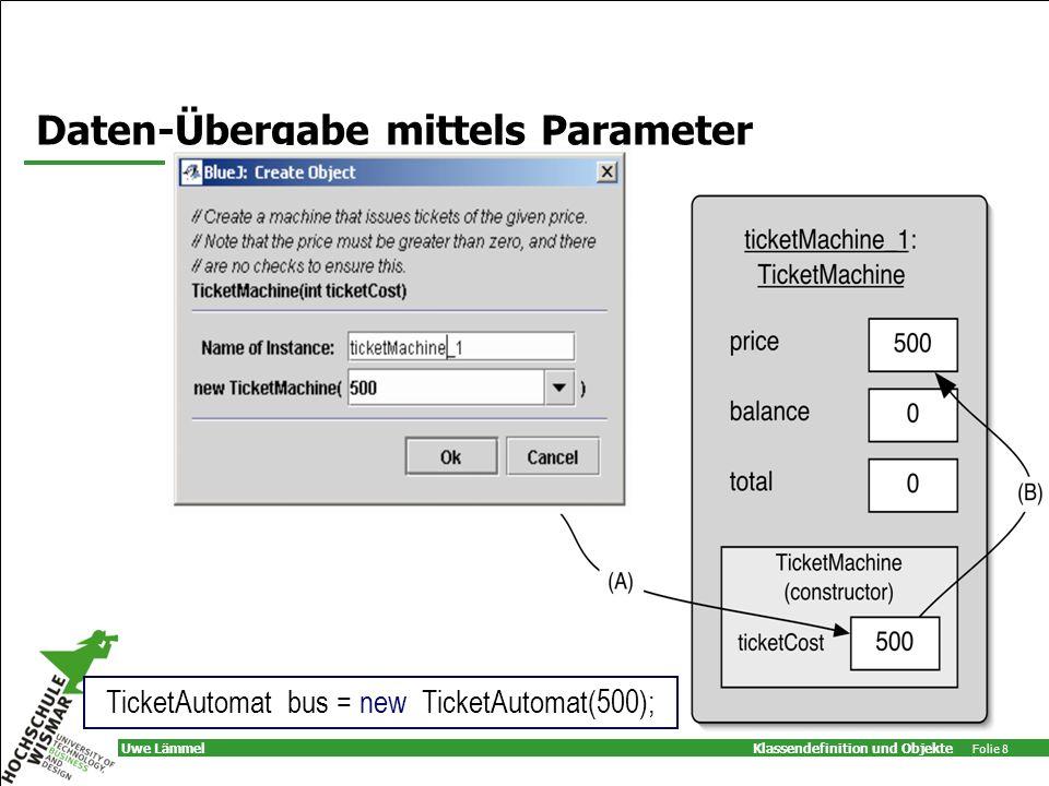Klassendefinition und Objekte Folie 8 Uwe Lämmel Daten-Übergabe mittels Parameter TicketAutomat bus = new TicketAutomat(500);