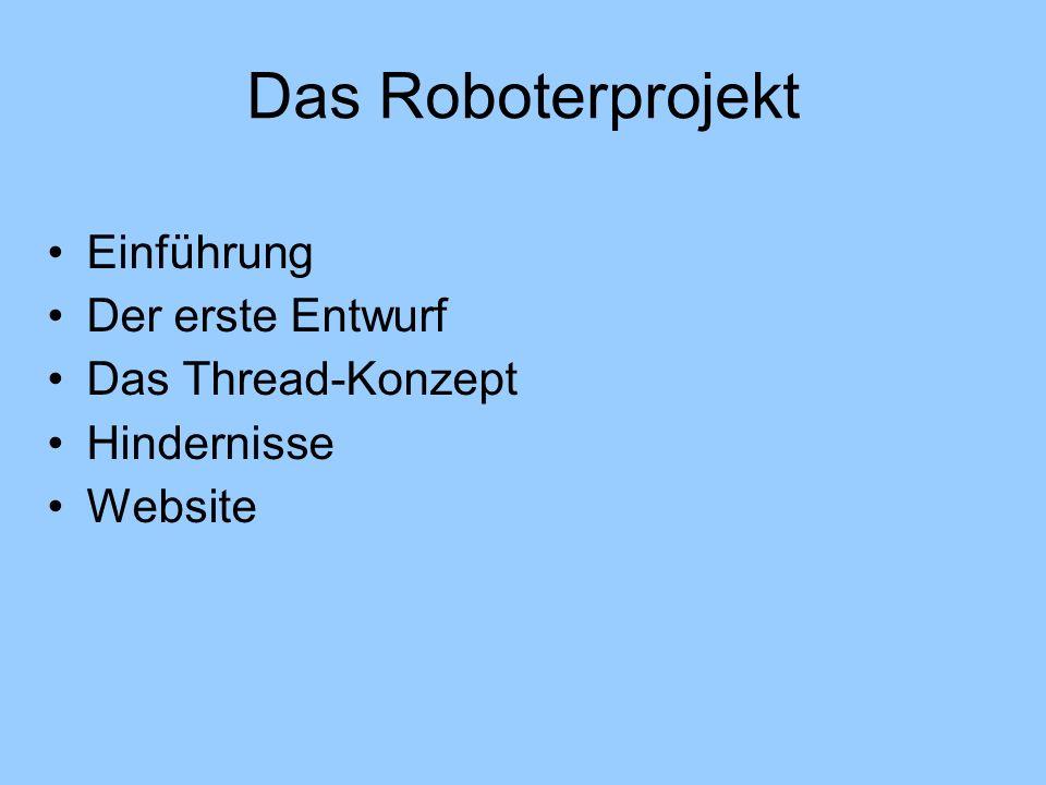 Das Roboterprojekt Einführung Der erste Entwurf Das Thread-Konzept Hindernisse Website