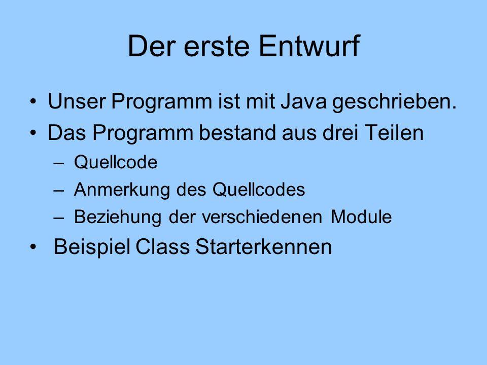Unser Programm ist mit Java geschrieben. Das Programm bestand aus drei Teilen – Quellcode – Anmerkung des Quellcodes – Beziehung der verschiedenen Mod