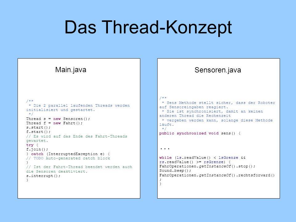 /** * Die 2 parallel laufenden Threads werden initialisiert und gestartet. */ Thread s = new Sensoren(); Thread f = new Fahrt(); s.start(); f.start();