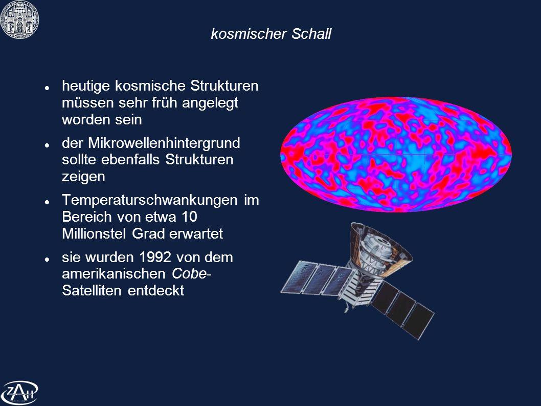 kosmischer Schall heutige kosmische Strukturen müssen sehr früh angelegt worden sein der Mikrowellenhintergrund sollte ebenfalls Strukturen zeigen Tem