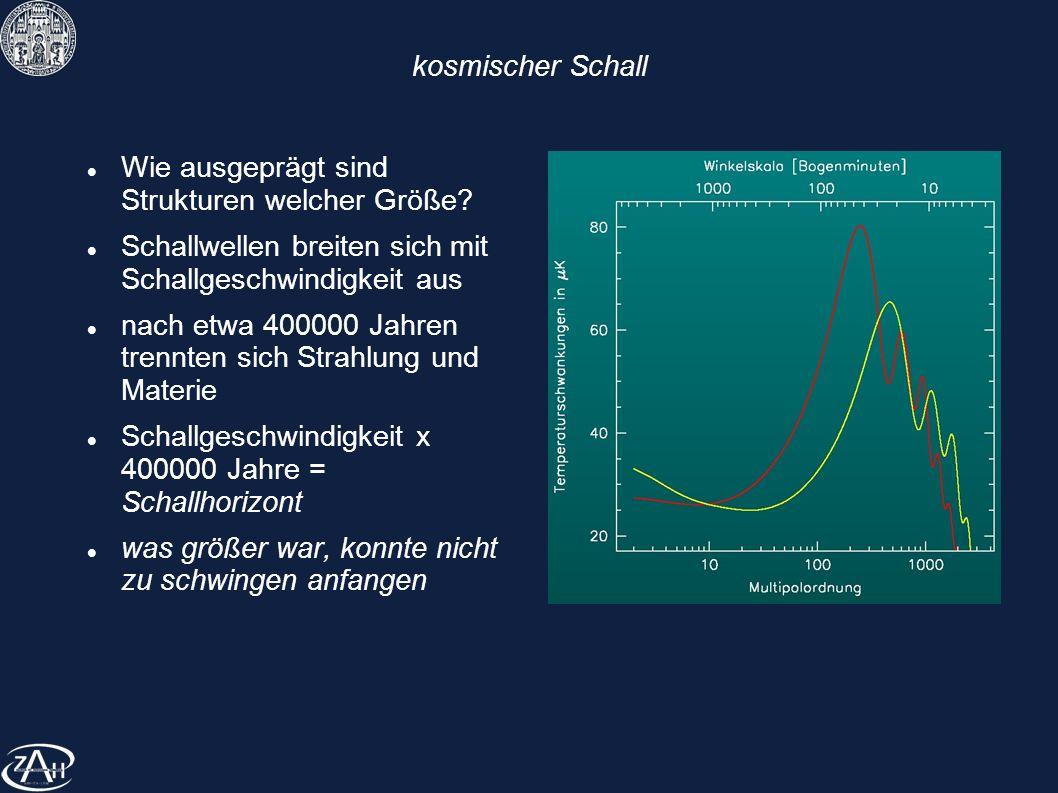 kosmischer Schall Wie ausgeprägt sind Strukturen welcher Größe? Schallwellen breiten sich mit Schallgeschwindigkeit aus nach etwa 400000 Jahren trennt
