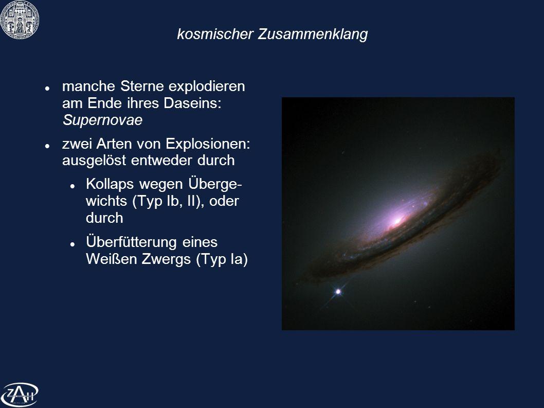 kosmischer Zusammenklang manche Sterne explodieren am Ende ihres Daseins: Supernovae zwei Arten von Explosionen: ausgelöst entweder durch Kollaps wege