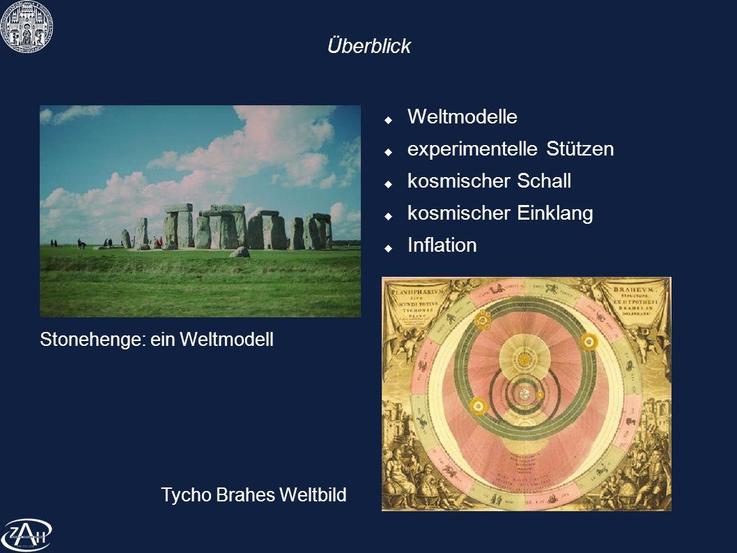 Überblick Weltmodelle experimentelle Stützen kosmischer Schall kosmischer Einklang Inflation Stonehenge: ein Weltmodell Tycho Brahes Weltbild