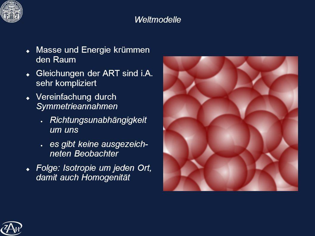 Weltmodelle Masse und Energie krümmen den Raum Gleichungen der ART sind i.A. sehr kompliziert Vereinfachung durch Symmetrieannahmen Richtungsunabhängi