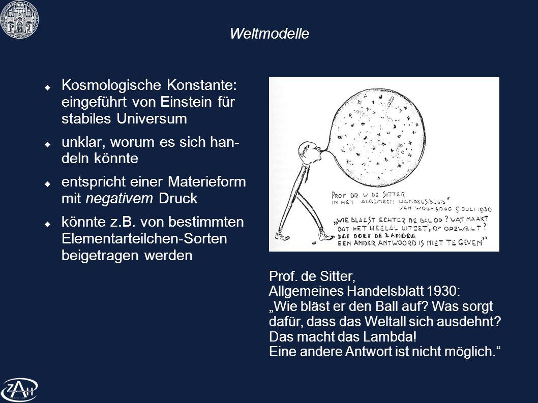 Weltmodelle Kosmologische Konstante: eingeführt von Einstein für stabiles Universum unklar, worum es sich han- deln könnte entspricht einer Materiefor