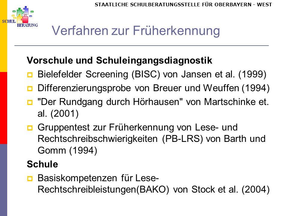 STAATLICHE SCHULBERATUNGSSTELLE FÜR OBERBAYERN WEST Verfahren zur Früherkennung Vorschule und Schuleingangsdiagnostik Bielefelder Screening (BISC) von Jansen et al.