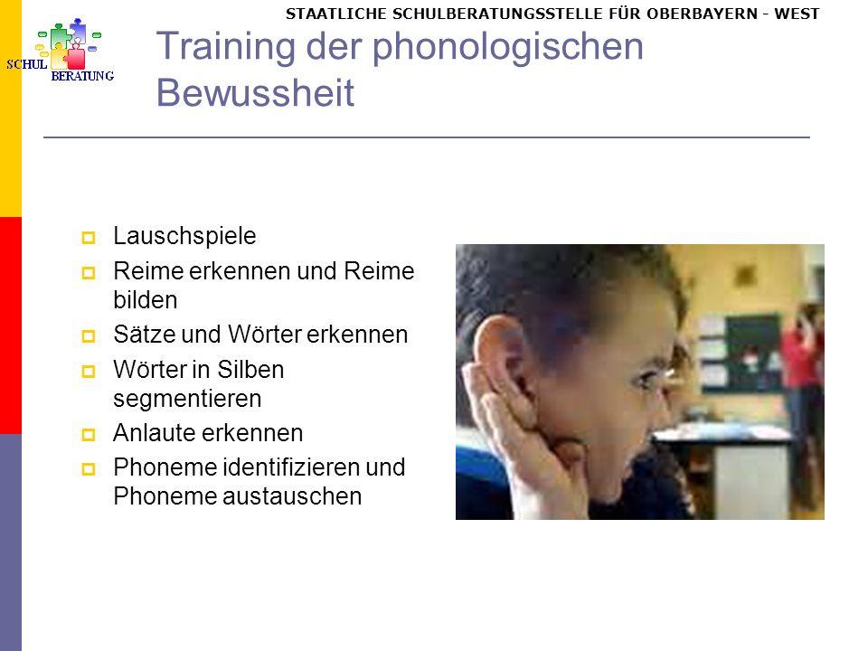 STAATLICHE SCHULBERATUNGSSTELLE FÜR OBERBAYERN WEST Training der phonologischen Bewussheit Lauschspiele Reime erkennen und Reime bilden Sätze und Wörter erkennen Wörter in Silben segmentieren Anlaute erkennen Phoneme identifizieren und Phoneme austauschen