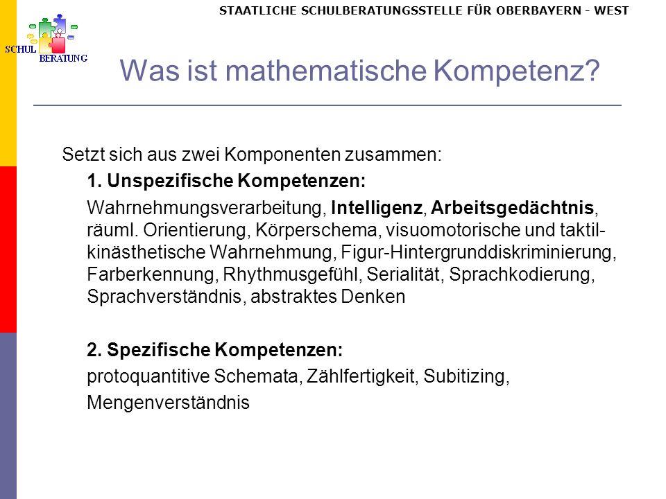 STAATLICHE SCHULBERATUNGSSTELLE FÜR OBERBAYERN WEST Was ist mathematische Kompetenz.