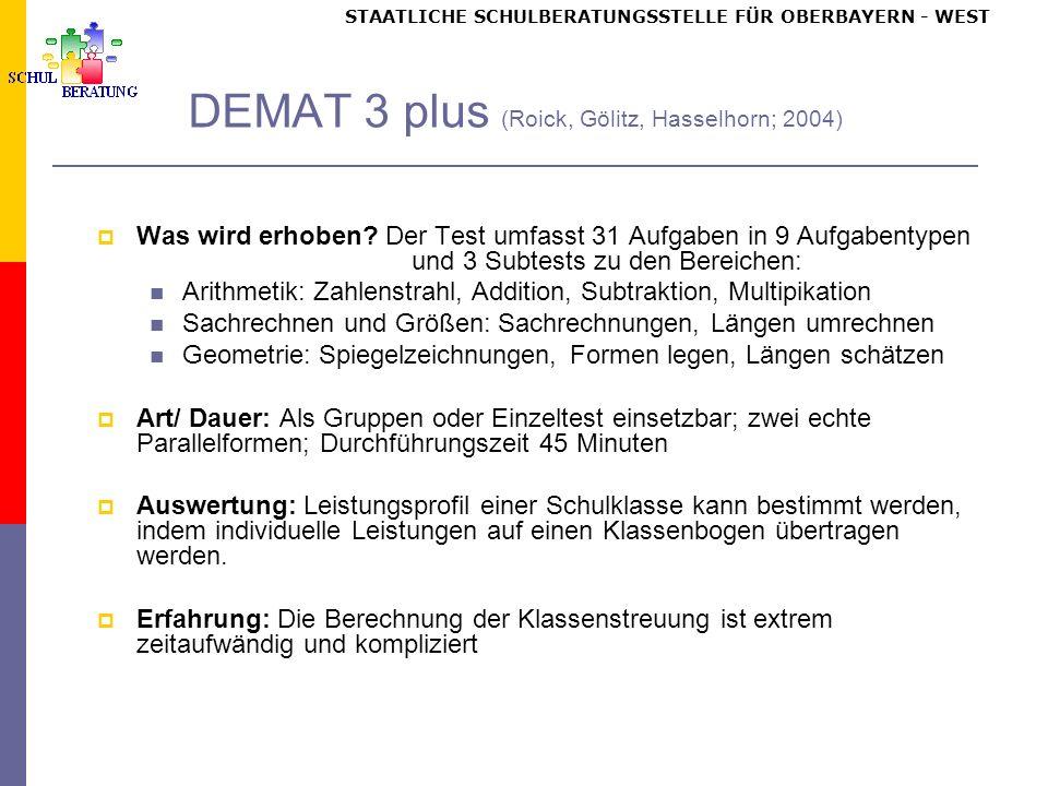 STAATLICHE SCHULBERATUNGSSTELLE FÜR OBERBAYERN WEST DEMAT 3 plus (Roick, Gölitz, Hasselhorn; 2004) Was wird erhoben.
