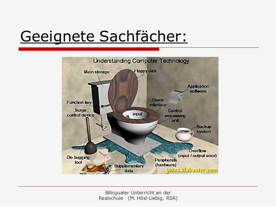 Bilingualer Unterricht an der Realschule (M. Hösl-Liebig, RSR) Geeignete Sachfächer: