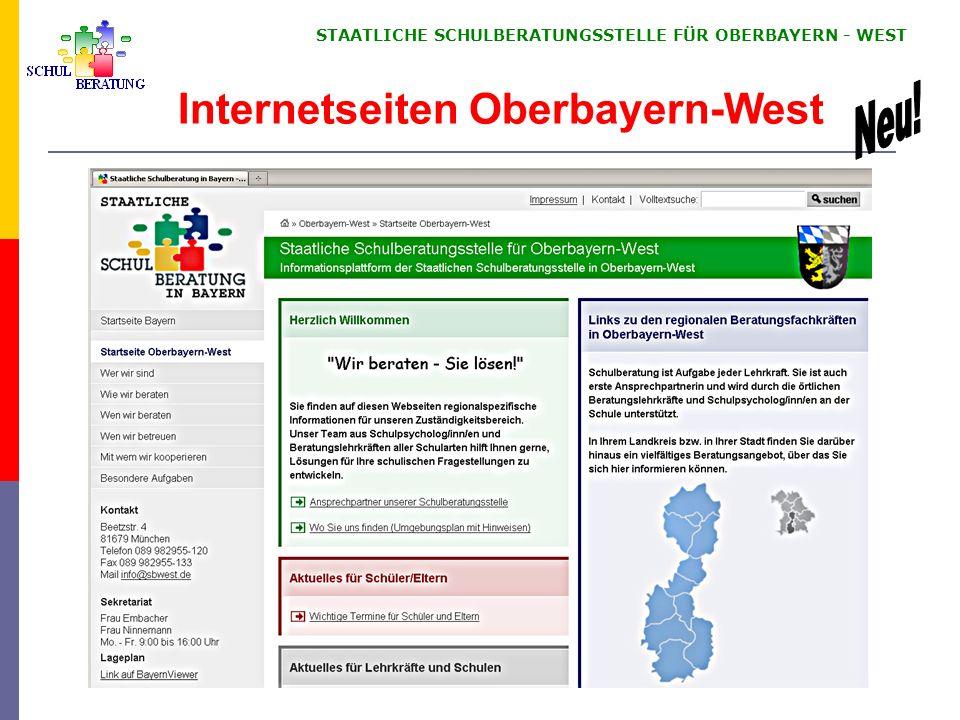 STAATLICHE SCHULBERATUNGSSTELLE FÜR OBERBAYERN WEST 11 Internetseiten Oberbayern-West