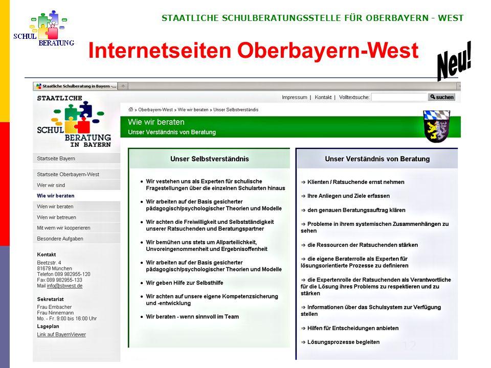 STAATLICHE SCHULBERATUNGSSTELLE FÜR OBERBAYERN WEST 12 Internetseiten Oberbayern-West