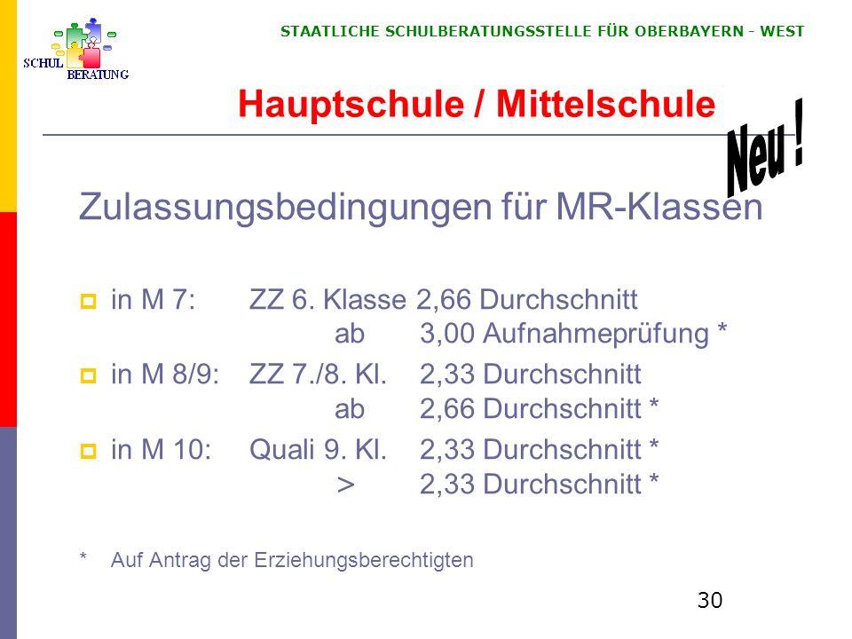 STAATLICHE SCHULBERATUNGSSTELLE FÜR OBERBAYERN WEST 30 Zulassungsbedingungen für MR-Klassen in M 7: ZZ 6. Klasse 2,66 Durchschnitt ab3,00 Aufnahmeprüf
