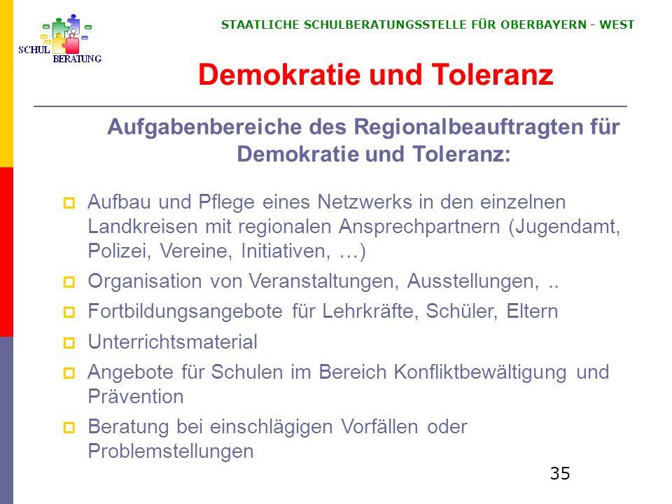 STAATLICHE SCHULBERATUNGSSTELLE FÜR OBERBAYERN WEST 35 Demokratie und Toleranz Aufgabenbereiche des Regionalbeauftragten für Demokratie und Toleranz: