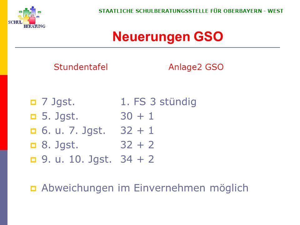 STAATLICHE SCHULBERATUNGSSTELLE FÜR OBERBAYERN WEST Neuerungen GSO 7 Jgst. 1. FS 3 stündig 5. Jgst. 30 + 1 6. u. 7. Jgst. 32 + 1 8. Jgst. 32 + 2 9. u.