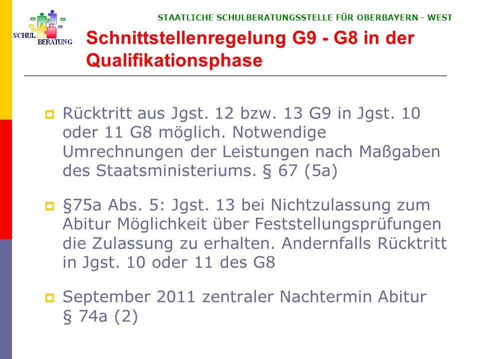 STAATLICHE SCHULBERATUNGSSTELLE FÜR OBERBAYERN WEST Schnittstellenregelung G9 - G8 in der Qualifikationsphase Rücktritt aus Jgst. 12 bzw. 13 G9 in Jgs