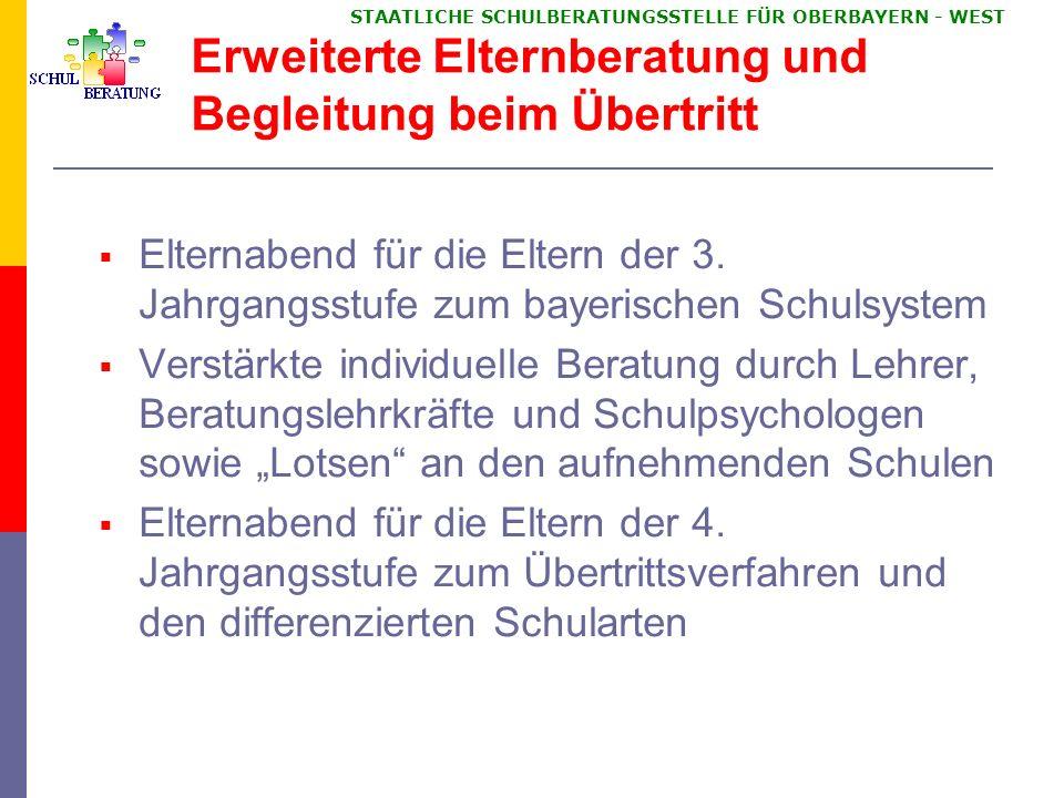 STAATLICHE SCHULBERATUNGSSTELLE FÜR OBERBAYERN WEST Das bayerische Schulsystem Elternabend für die 3.