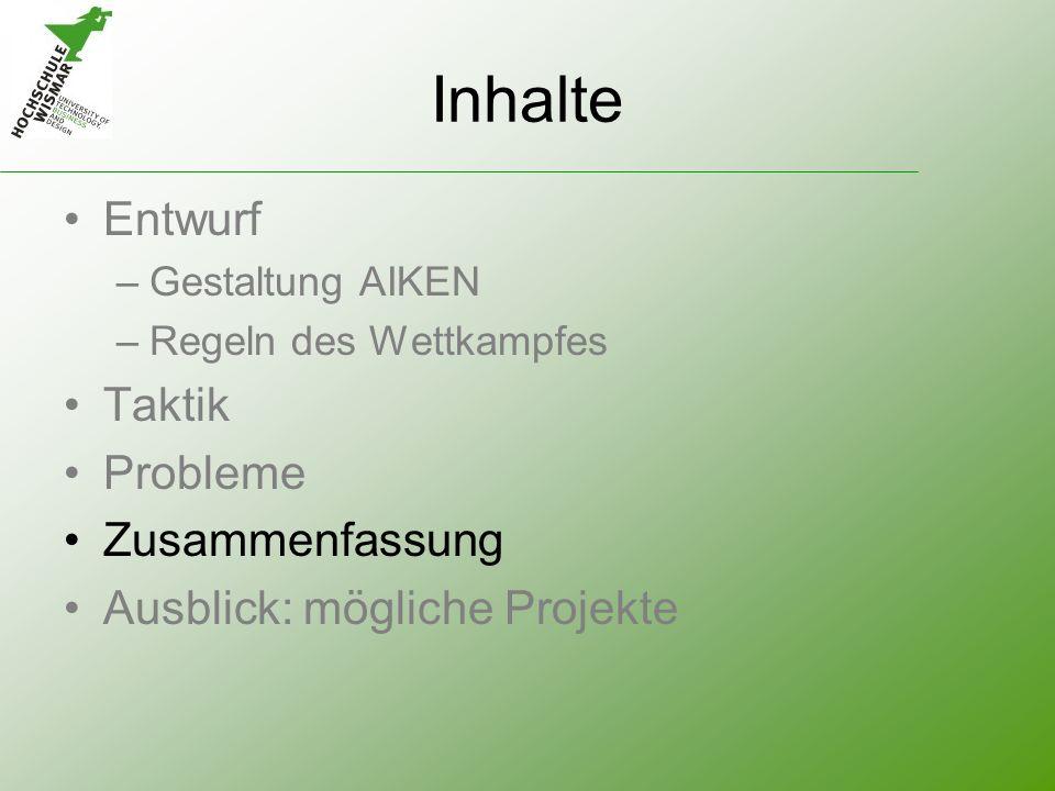 Inhalte Entwurf –Gestaltung AIKEN –Regeln des Wettkampfes Taktik Probleme Zusammenfassung Ausblick: mögliche Projekte