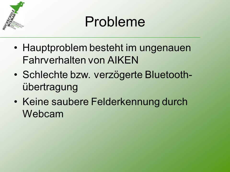 Probleme Hauptproblem besteht im ungenauen Fahrverhalten von AIKEN Schlechte bzw. verzögerte Bluetooth- übertragung Keine saubere Felderkennung durch