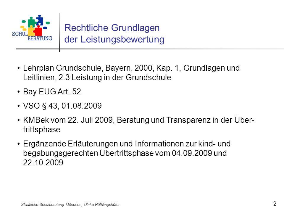 Staatliche Schulberatung München, Ulrike Röthlingshöfer 2 Rechtliche Grundlagen der Leistungsbewertung Lehrplan Grundschule, Bayern, 2000, Kap. 1, Gru