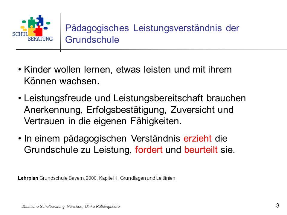 Staatliche Schulberatung München, Ulrike Röthlingshöfer 3 Pädagogisches Leistungsverständnis der Grundschule Kinder wollen lernen, etwas leisten und m