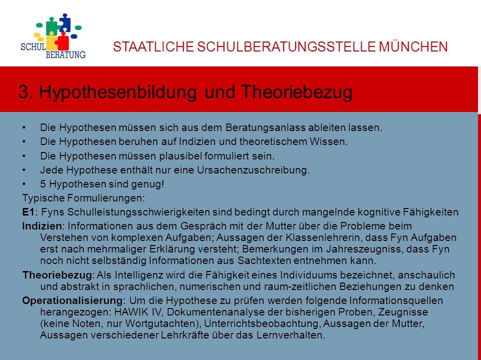 STAATLICHE SCHULBERATUNGSSTELLE MÜNCHEN Dr. Helga Ulbricht 2013 5 3. Hypothesenbildung und Theoriebezug Die Hypothesen müssen sich aus dem Beratungsan