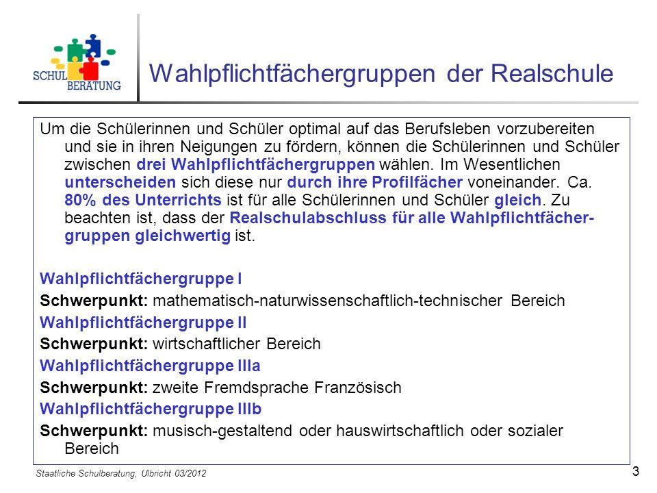 Staatliche Schulberatung, Ulbricht 03/2012 14 Der Probeunterricht ist bestanden bei D/M 3/4 oder 4/3.