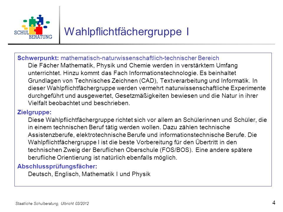 Staatliche Schulberatung, Ulbricht 03/2012 15 Haupt- oder Mittelschule 5.