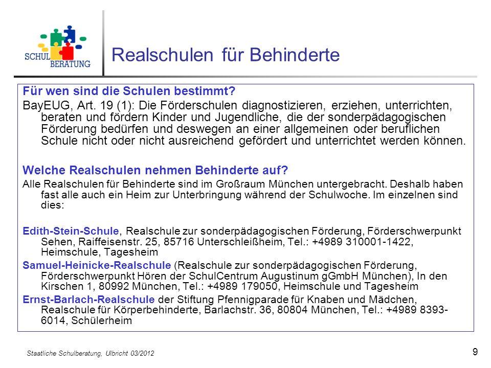 Staatliche Schulberatung, Ulbricht 03/2012 20 Die 5.