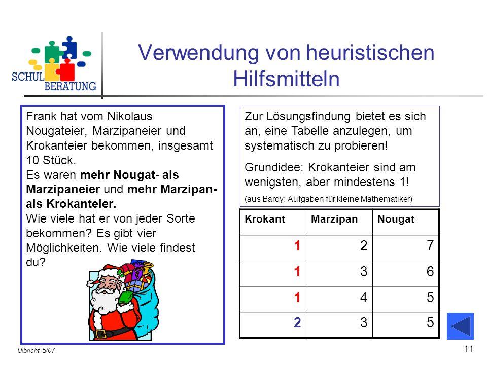 Ulbricht 5/07 11 Verwendung von heuristischen Hilfsmitteln Frank hat vom Nikolaus Nougateier, Marzipaneier und Krokanteier bekommen, insgesamt 10 Stüc
