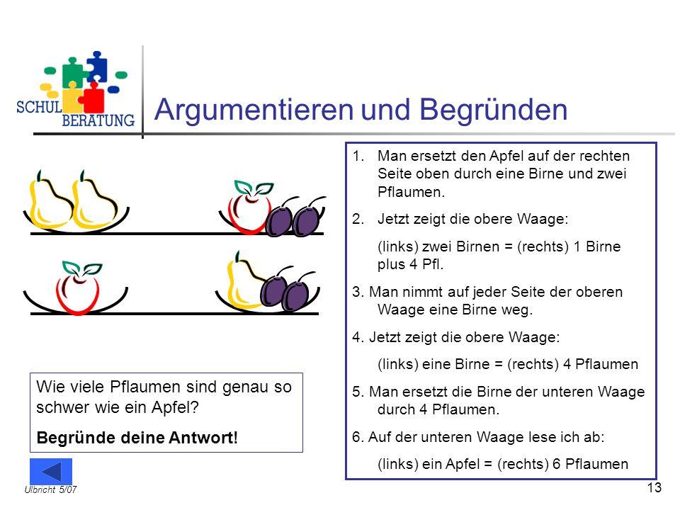 Ulbricht 5/07 13 Argumentieren und Begründen Wie viele Pflaumen sind genau so schwer wie ein Apfel? Begründe deine Antwort! 1.Man ersetzt den Apfel au