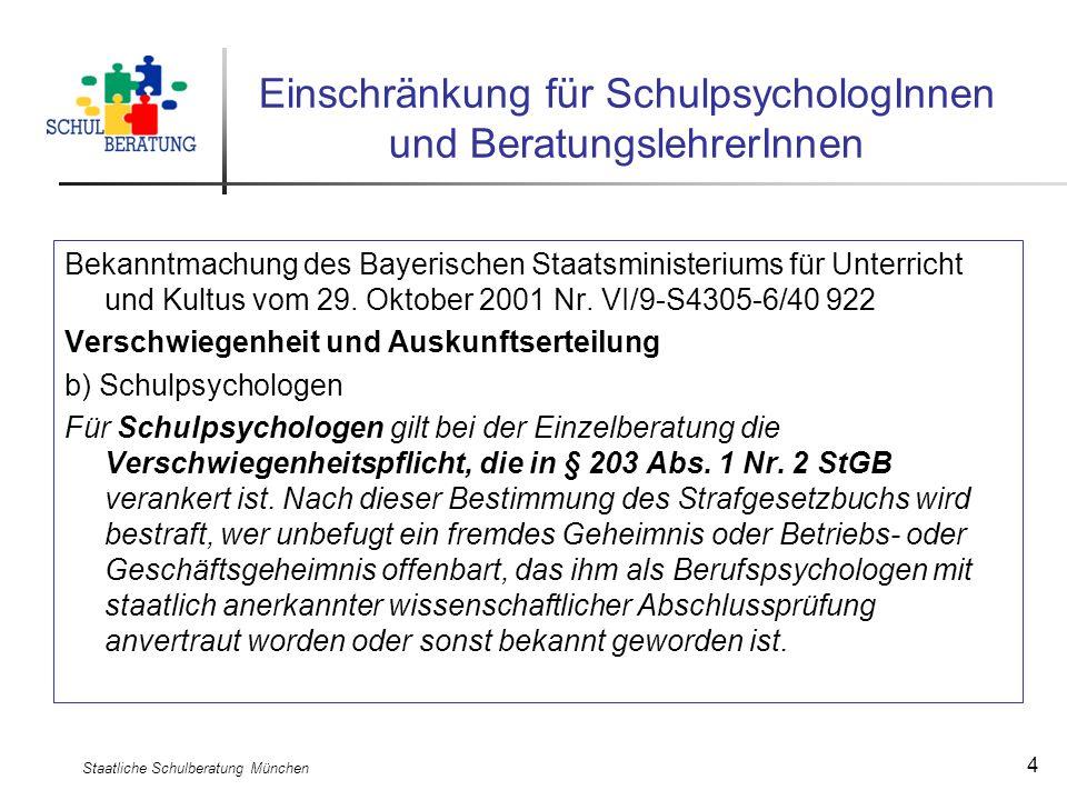 Staatliche Schulberatung München 4 Bekanntmachung des Bayerischen Staatsministeriums für Unterricht und Kultus vom 29. Oktober 2001 Nr. VI/9-S4305-6/4