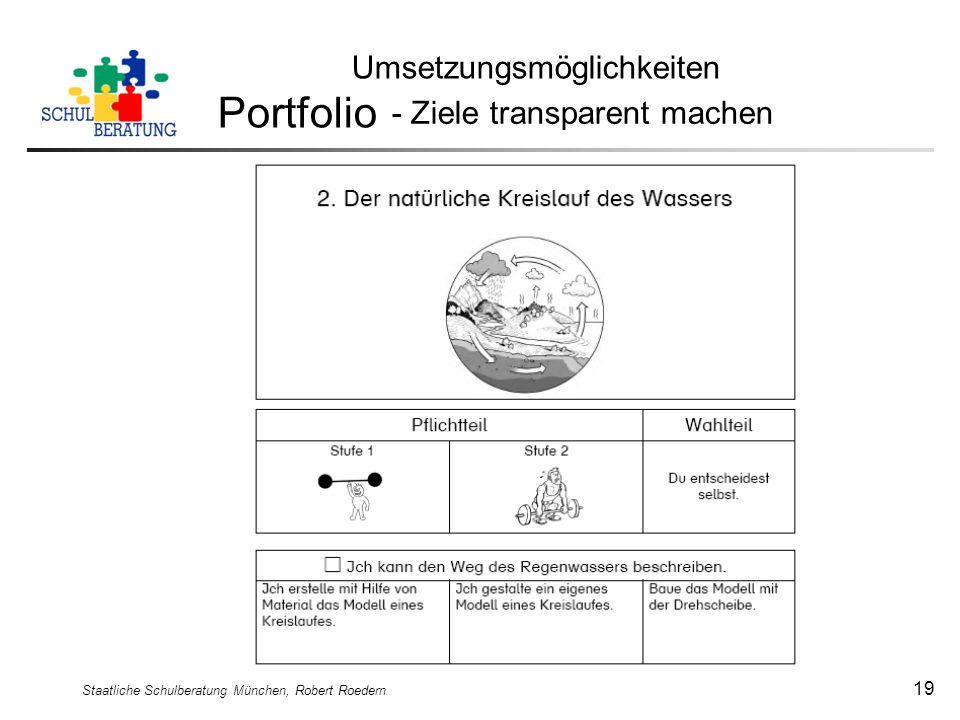 Staatliche Schulberatung München, Robert Roedern 19 Umsetzungsmöglichkeiten Portfolio - Ziele transparent machen