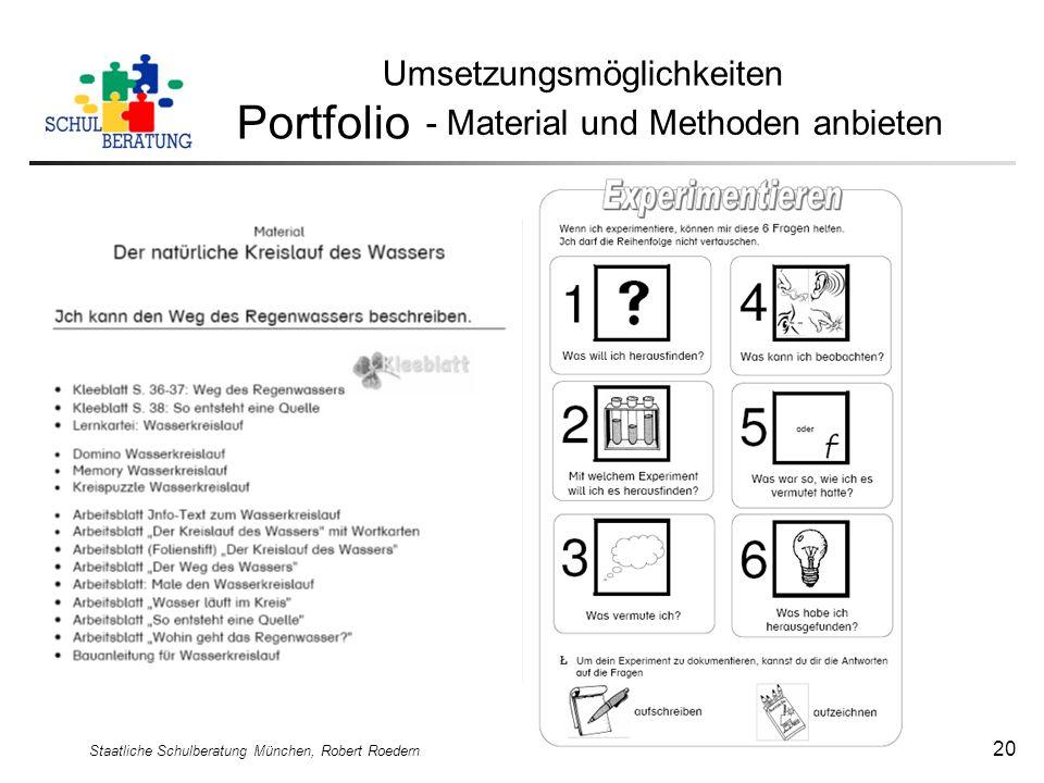 Staatliche Schulberatung München, Robert Roedern 20 Umsetzungsmöglichkeiten Portfolio - Material und Methoden anbieten