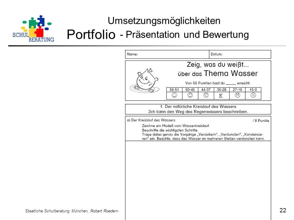 Staatliche Schulberatung München, Robert Roedern 22 Umsetzungsmöglichkeiten Portfolio - Präsentation und Bewertung