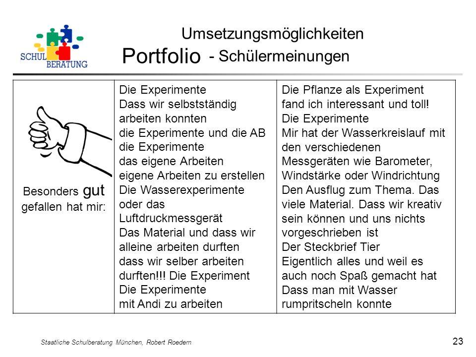 Staatliche Schulberatung München, Robert Roedern 23 Umsetzungsmöglichkeiten Portfolio - Schülermeinungen Besonders gut gefallen hat mir: Die Experimen