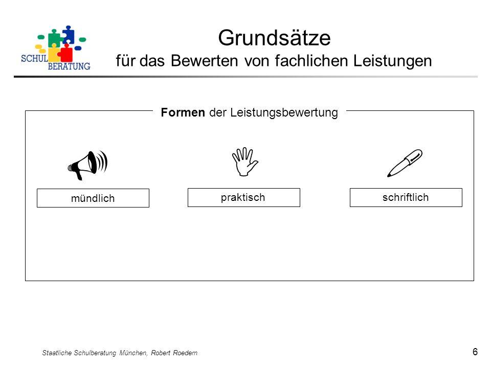 Staatliche Schulberatung München, Robert Roedern 6 Grundsätze für das Bewerten von fachlichen Leistungen mündlich praktischschriftlich Formen der Leis