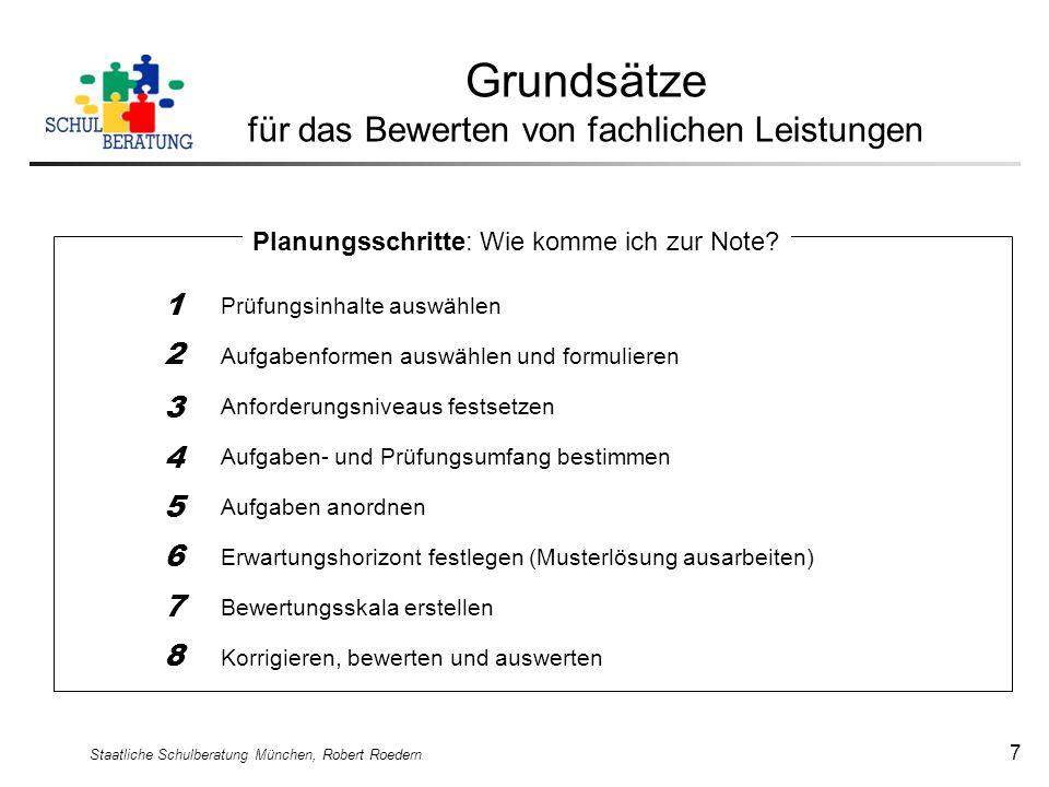 Staatliche Schulberatung München, Robert Roedern 7 Grundsätze für das Bewerten von fachlichen Leistungen Prüfungsinhalte auswählen Aufgabenformen ausw