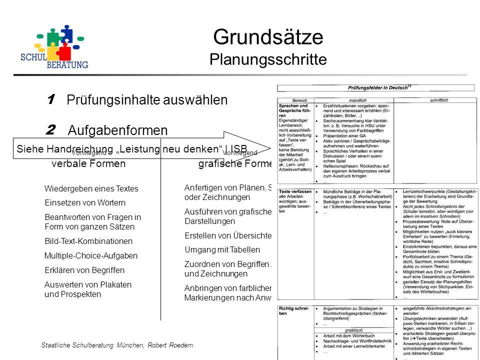 Staatliche Schulberatung München, Robert Roedern 8 Grundsätze Planungsschritte 1 Prüfungsinhalte auswählen Siehe Handreichung Leistung neu denken | IS