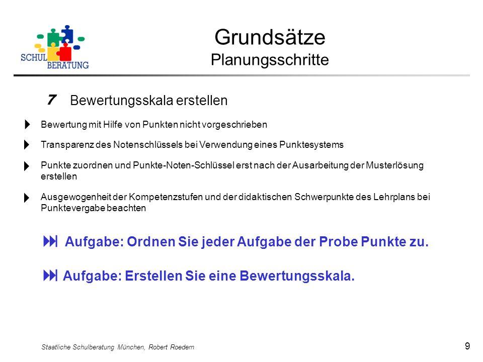 Staatliche Schulberatung München, Robert Roedern 9 Grundsätze Planungsschritte 7 Bewertungsskala erstellen Aufgabe: Erstellen Sie eine Bewertungsskala
