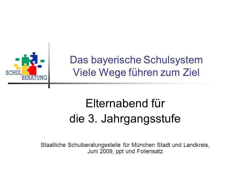 Staatliche Schulberatungsstelle München, 2009 12 Schulabschlüsse im bayerischen Schulsystem Infografik Schulische Abschlüsse sind über alle Schularten möglich.